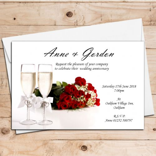 10 Personalised Wedding Anniversary Invitations N3 - suitable for any year